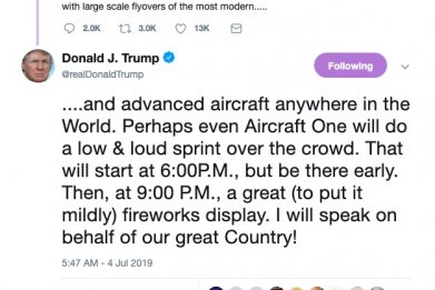 trump fourth of july aircraft one