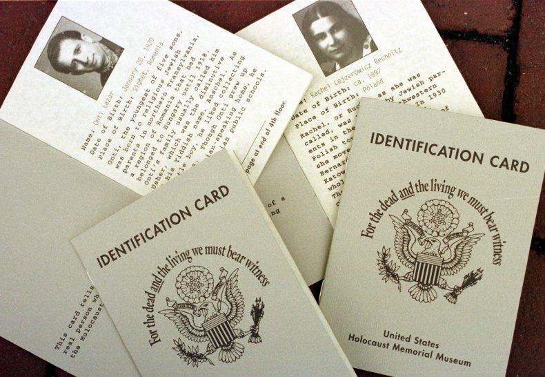 Copies of the Holocaust Memorial Museum identification cards
