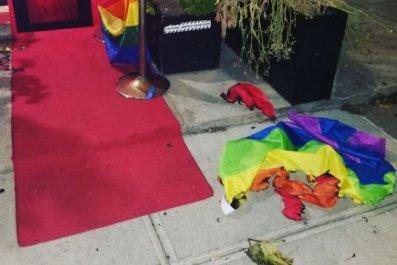 rainbow flag fire