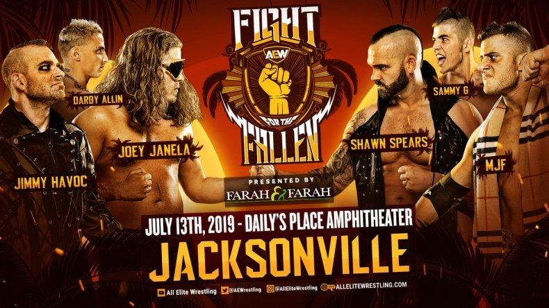 aew fight fallen six man tag match