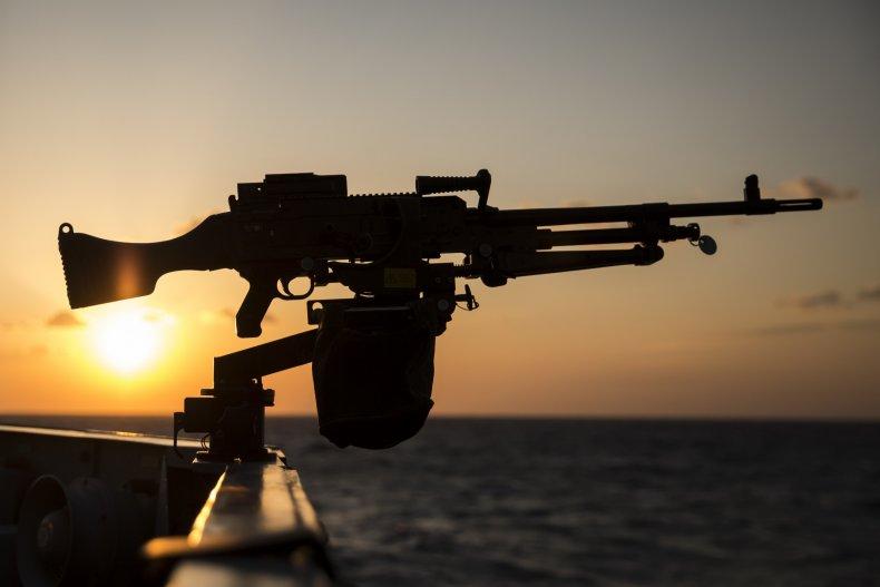 machine gun british navy frigate