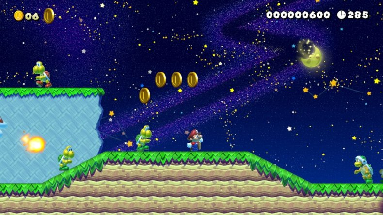 mario maker 2 slopes night mode building