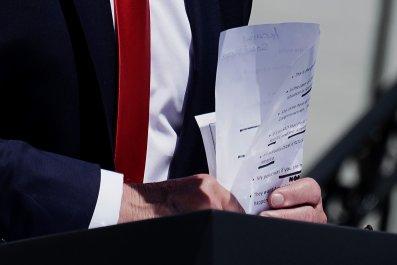 Trump speech notes Monday