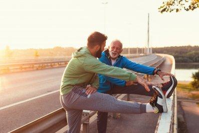father, son, family, exercise, fitness, men, running,