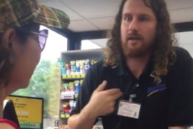 Buckys gas station clerk viral video Facebook