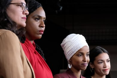 The Squad Ilhan Omar Trump rally AOC