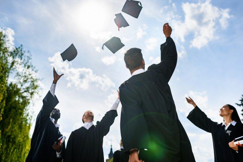 graduate caps stock photo