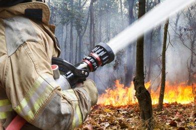 Firefighter battles wildfire.