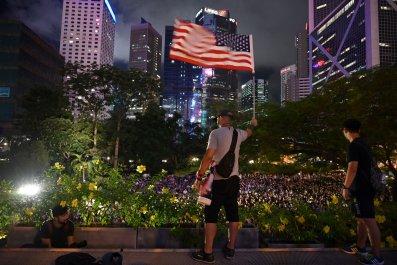 hong kong china us flag