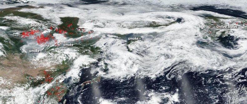 Siberian wildfire smoke
