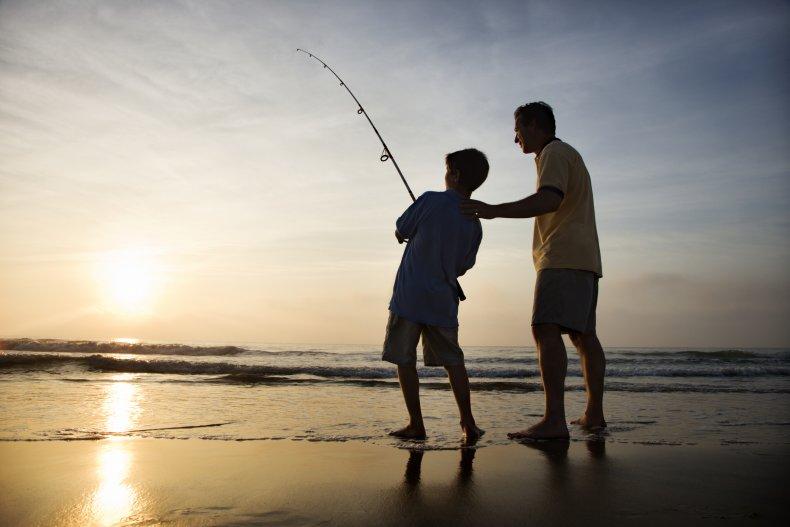 fishing, hobby, sea, beach, family, father,