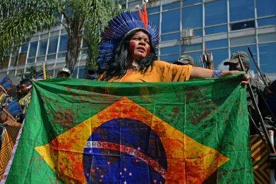 indigenous woman, Brazil, protest, getty, Brasilia