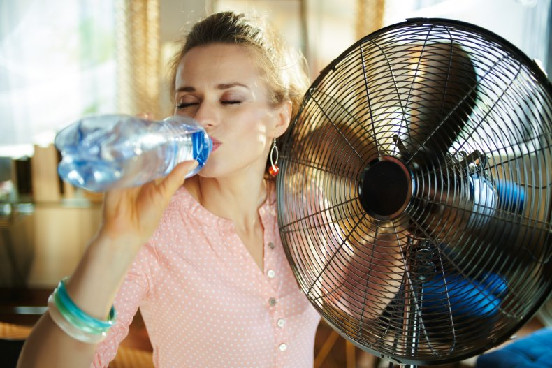heat wave, electric fan, water, woman, weather,stock