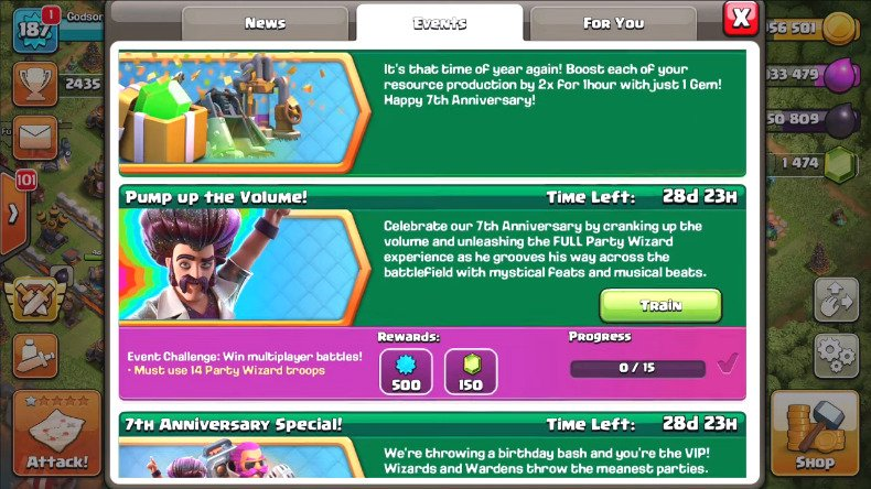 clash of clans  birthday events