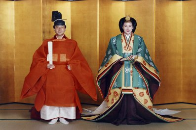 Crown Prince Naruhito of Japan and his future wife Masako Owada pose for photographs in traditional Japanese costume prior to their wedding June 2, 1993 in Tokyo.