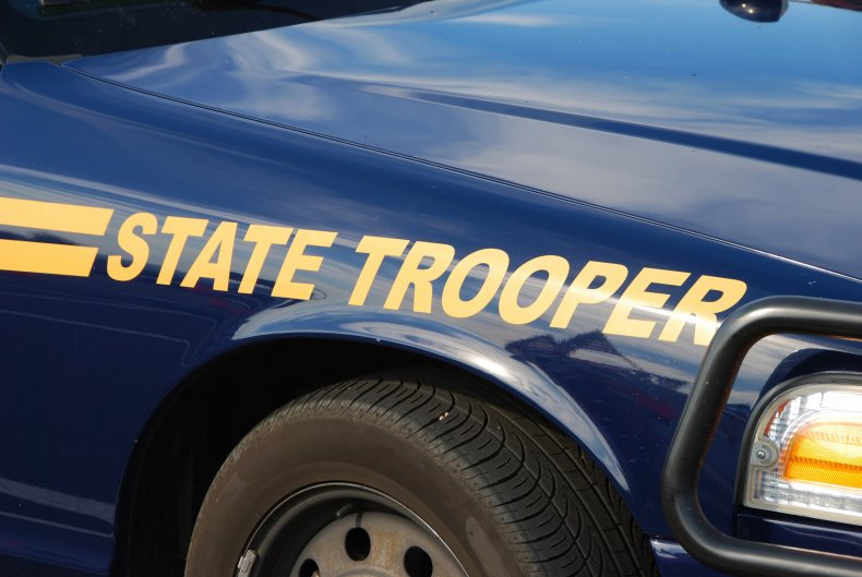 state trooper car stock photo