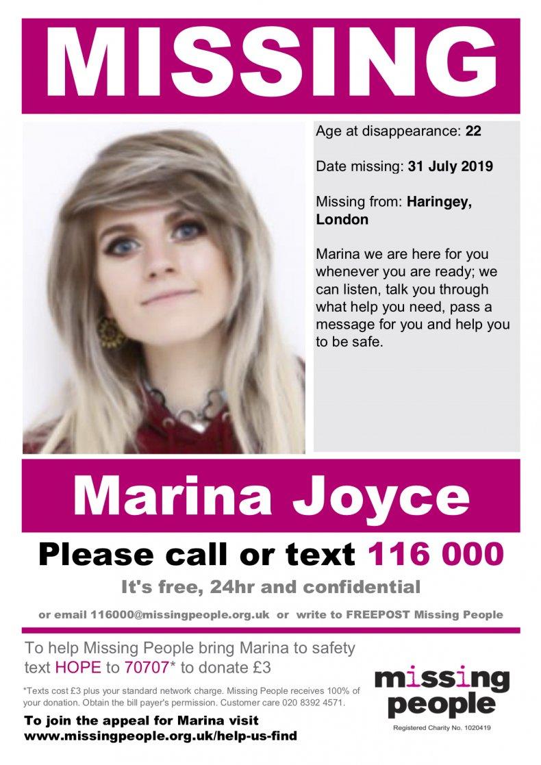 marina joyce missing poster