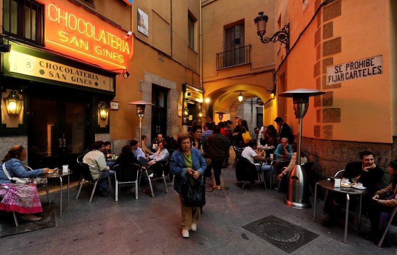 Street Eating Madrid Spain