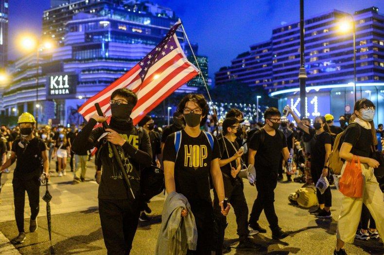 china hong kong protests us flag