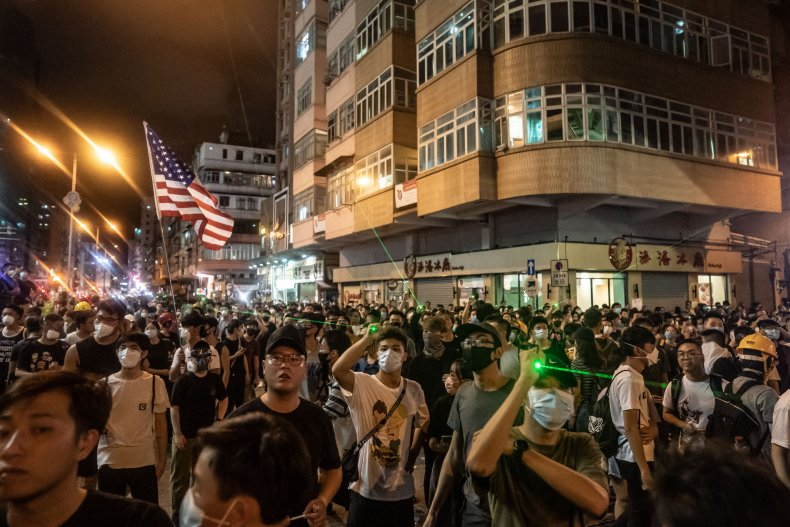 china hong kong protests us flag