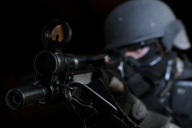 swatting swat team stock photo