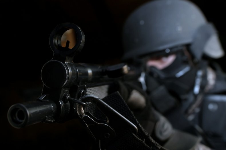 swatting swat team stock photo