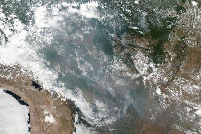Amazon rainforest fire smoke