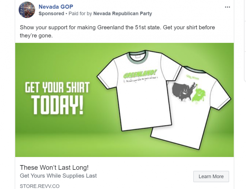 Nevada GOP selling Greenland shirt