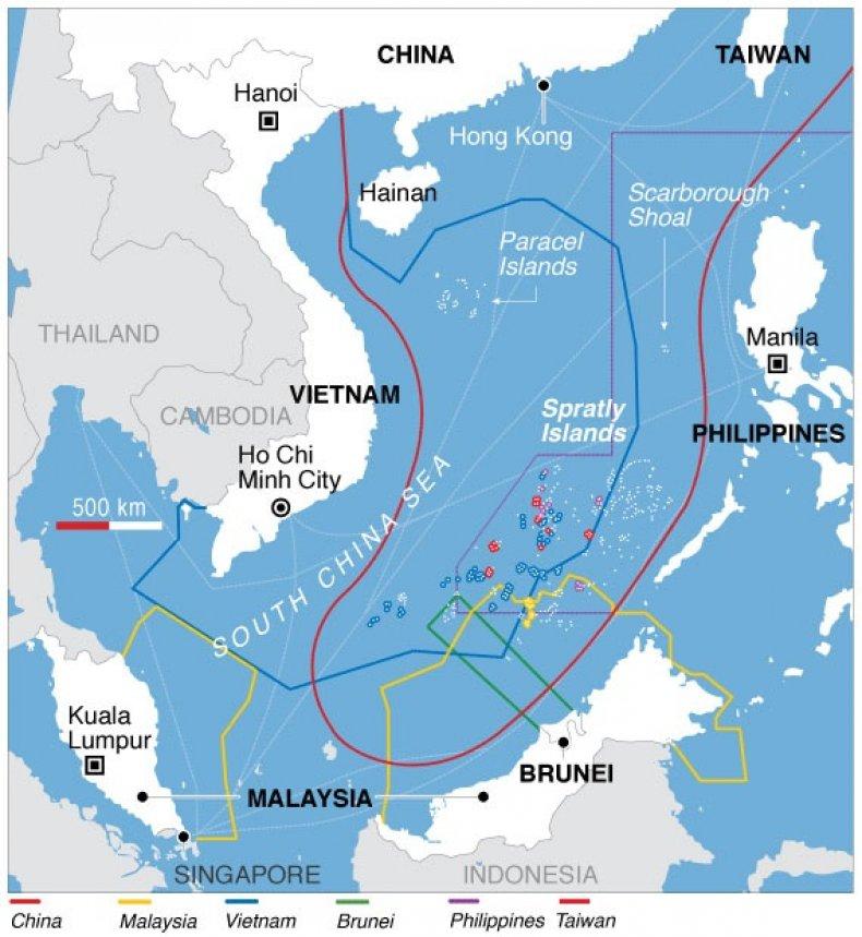south china sea territorial disputes map