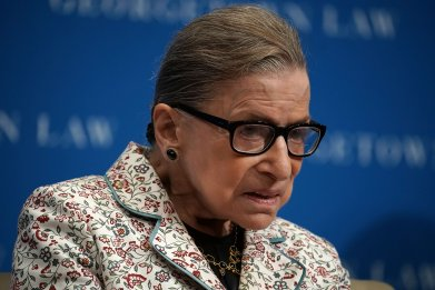 Ruth Bader Ginsburg participates in a lecture September 26, 2018 at Georgetown University