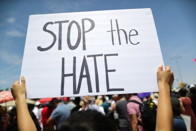 stop the hate sign mass shooting protest
