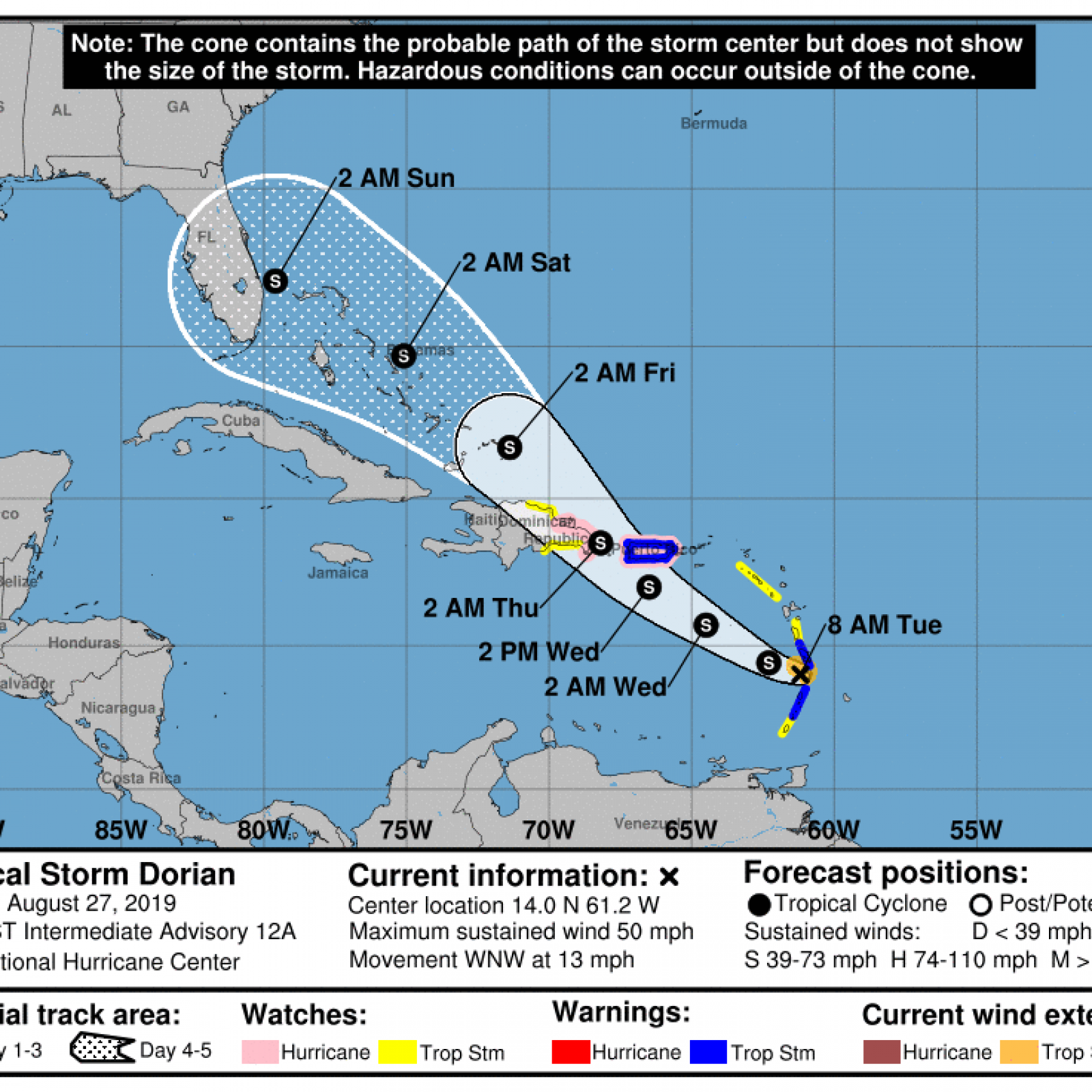 Florida Current Map.Tropical Storm Dorian Updates Timeline Path Map And Hurricane