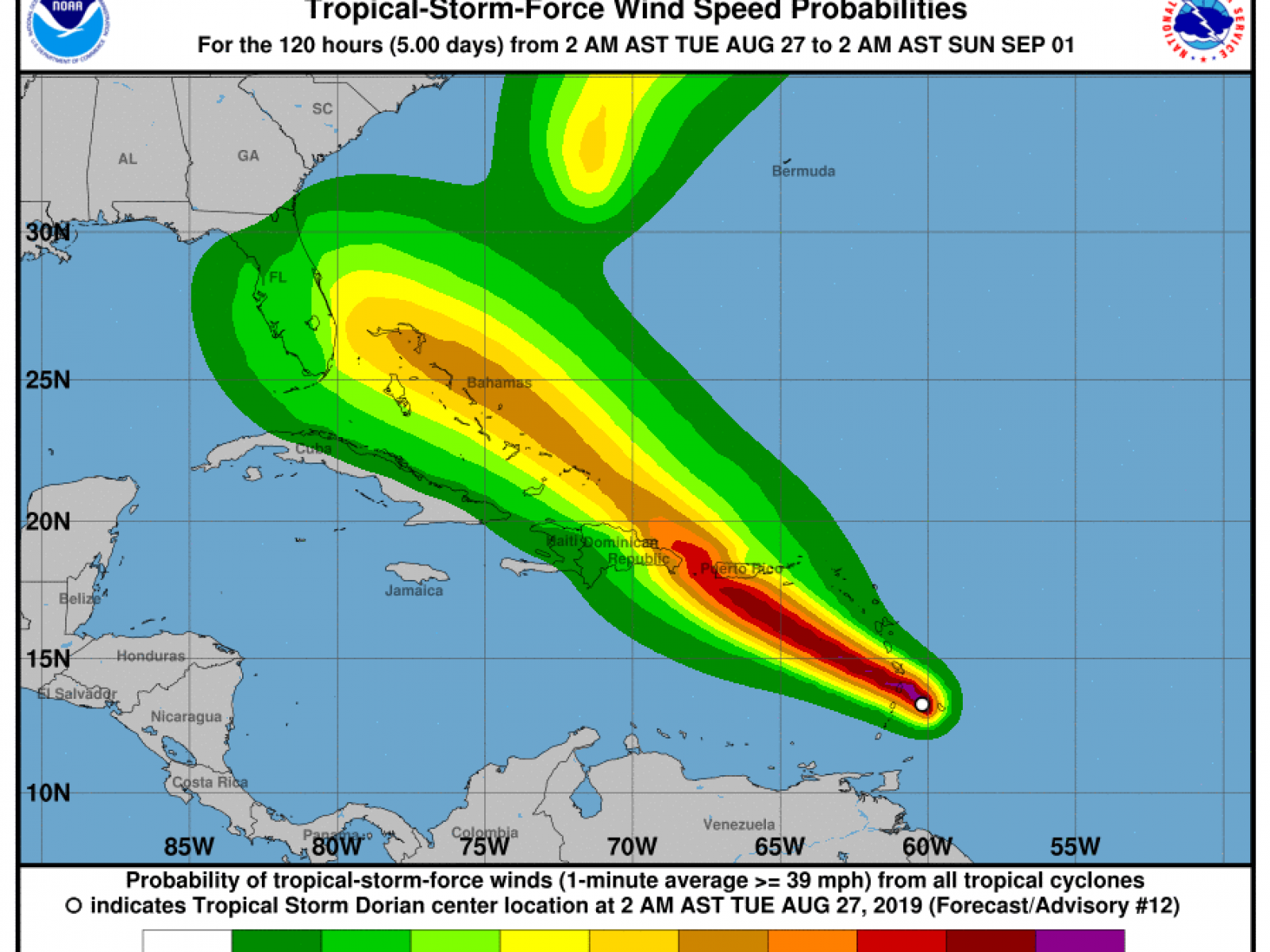Will Tropical Storm Dorian Hit Florida? Intensity Uncertain ... on map of guiana, map of bahamas, map of south america, map of world, map of colombia, map of nicaragua, map of honduras, map of ecuador, map of canada, map of aruba, map of switzerland, map of puerto rico, map of romania, map of paraguay, map of yemen, map of caracas, map of bolivia, map of greece, map of bonaire,