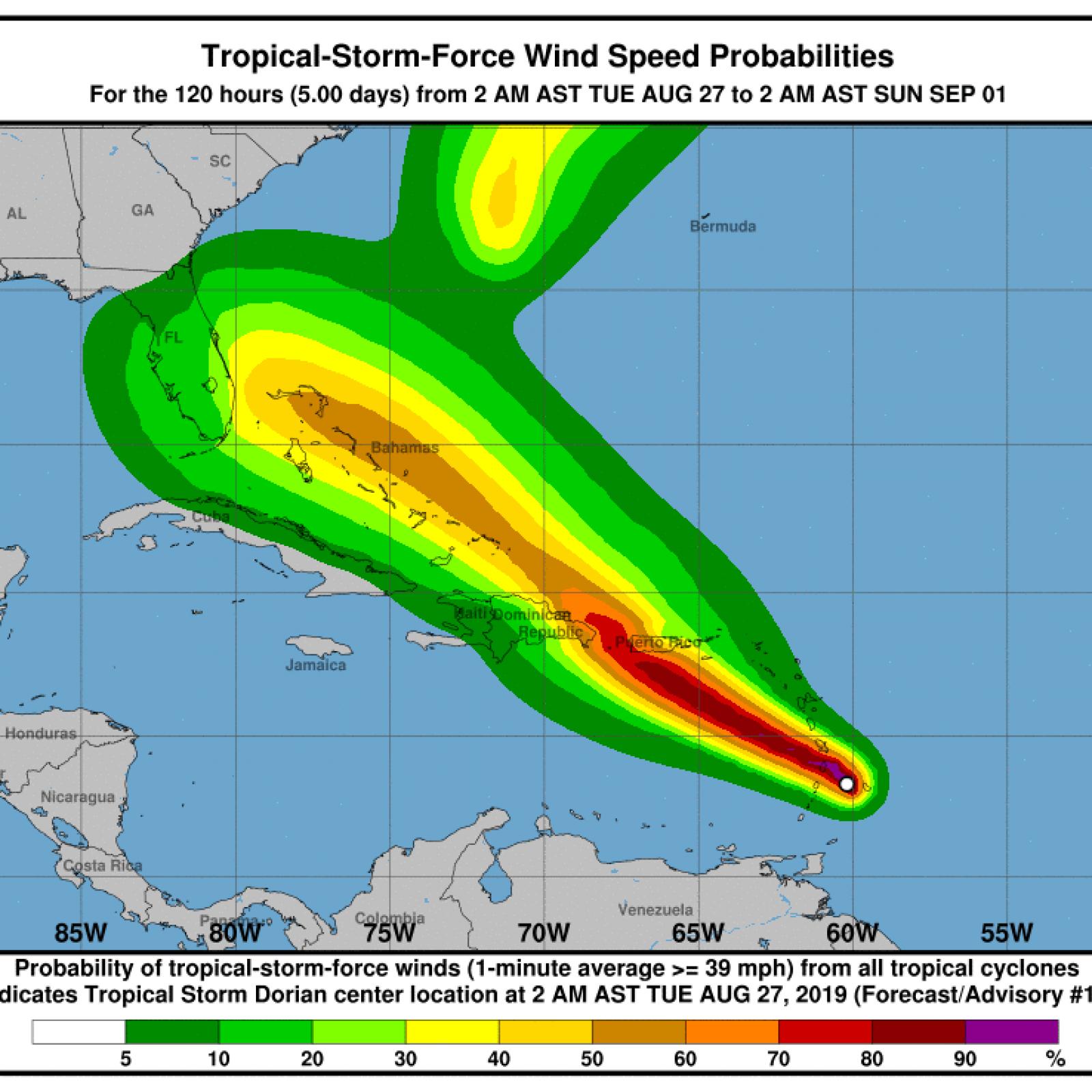 Will Tropical Storm Dorian Hit Florida Intensity Uncertain