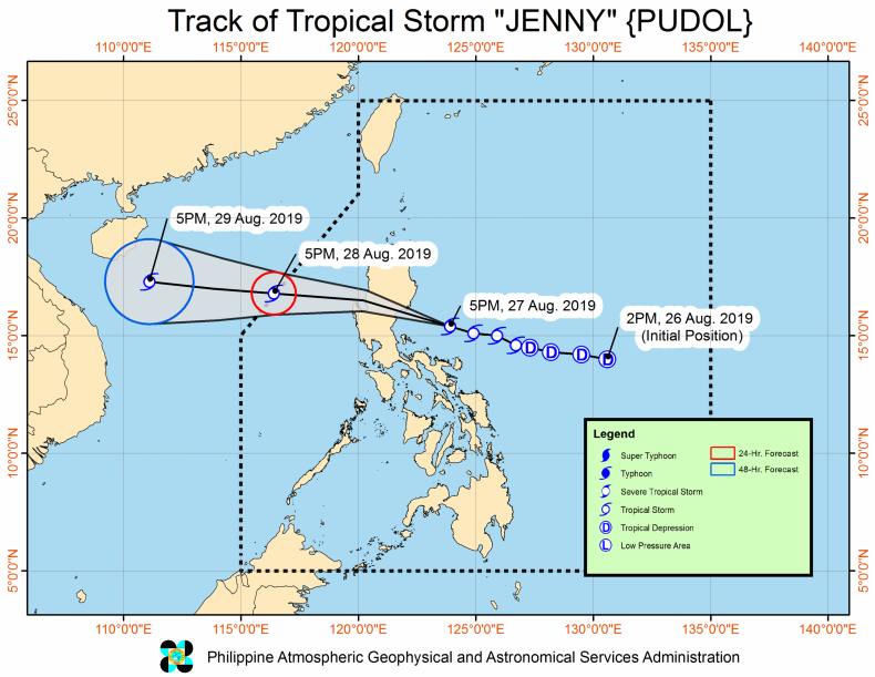 tropical storm Jenny Philippines track path