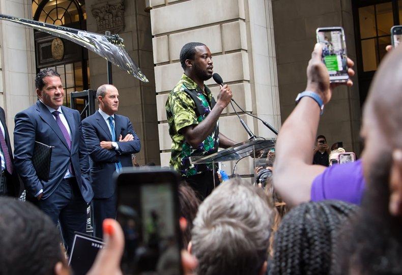 Rapper Meek Mill appears in court and attends #freemeek reform rally on August 27, 2019 in Philadelphia, Pennsylvania