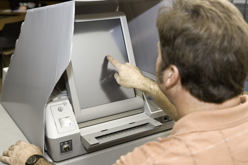 voting machine stock photo