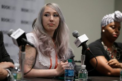 """Zoe Quinn speaks during """" The First Amendmant Resistance"""" panel during the BookExpo 2017 at Javits Center on June 1, 2017 in New York City."""