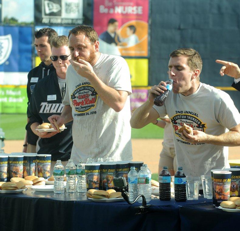 Joey Chestnut, Carmen Cincotti, Case's Pork Roll Eating Championship
