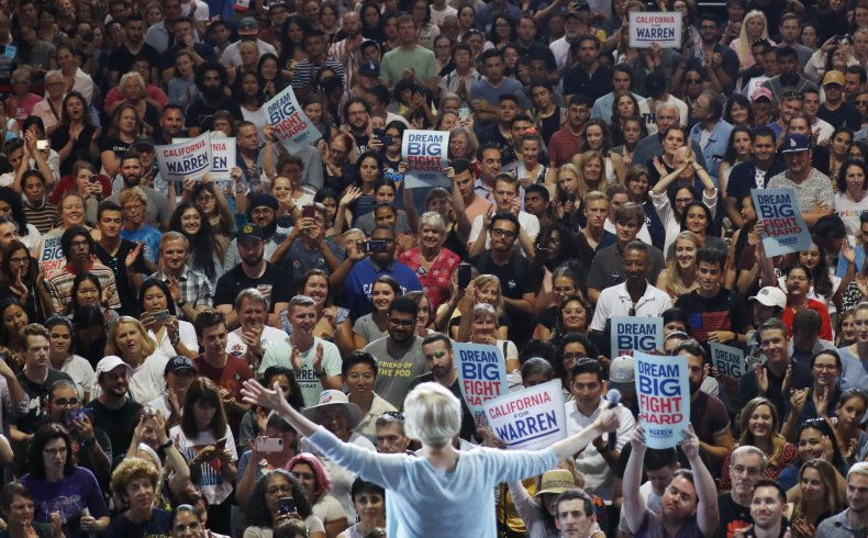 Elizabeth Warren 2020 rally Trump crowd size