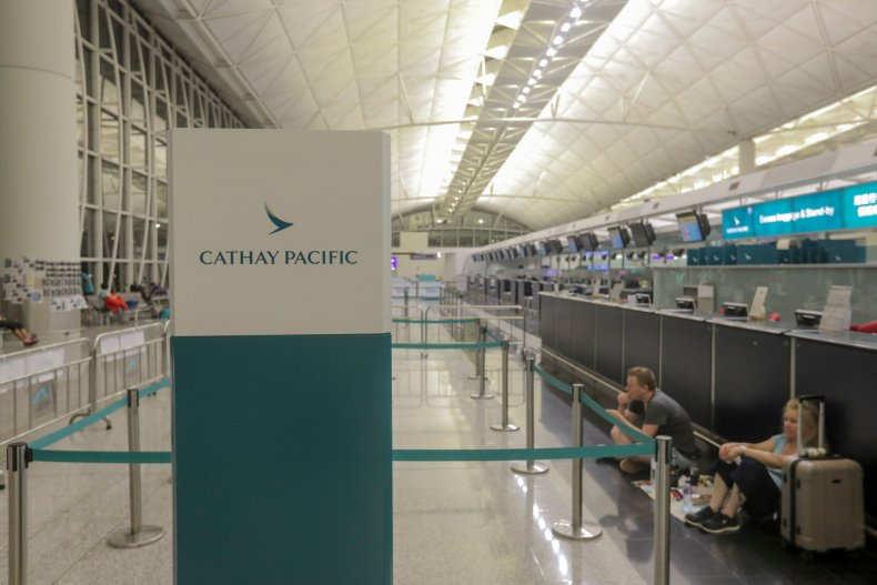 The Cathay Pacific Airways check-in area