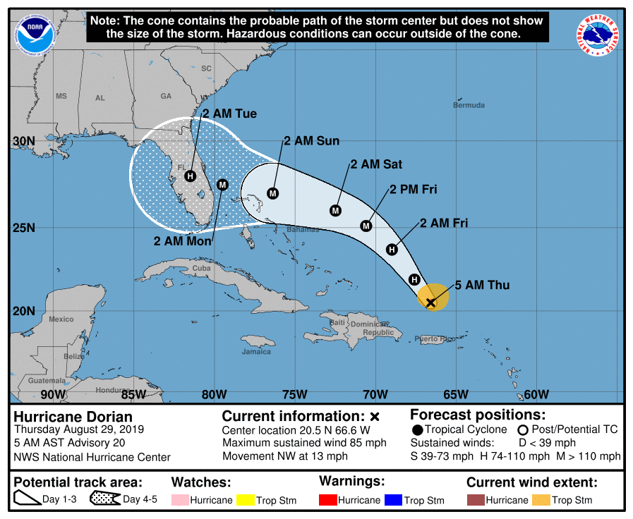 Hurricane Dorian Update, Path Map as Florida State of ...