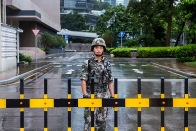 Chna, Hong Kong, garrison, troops, soldier, protests