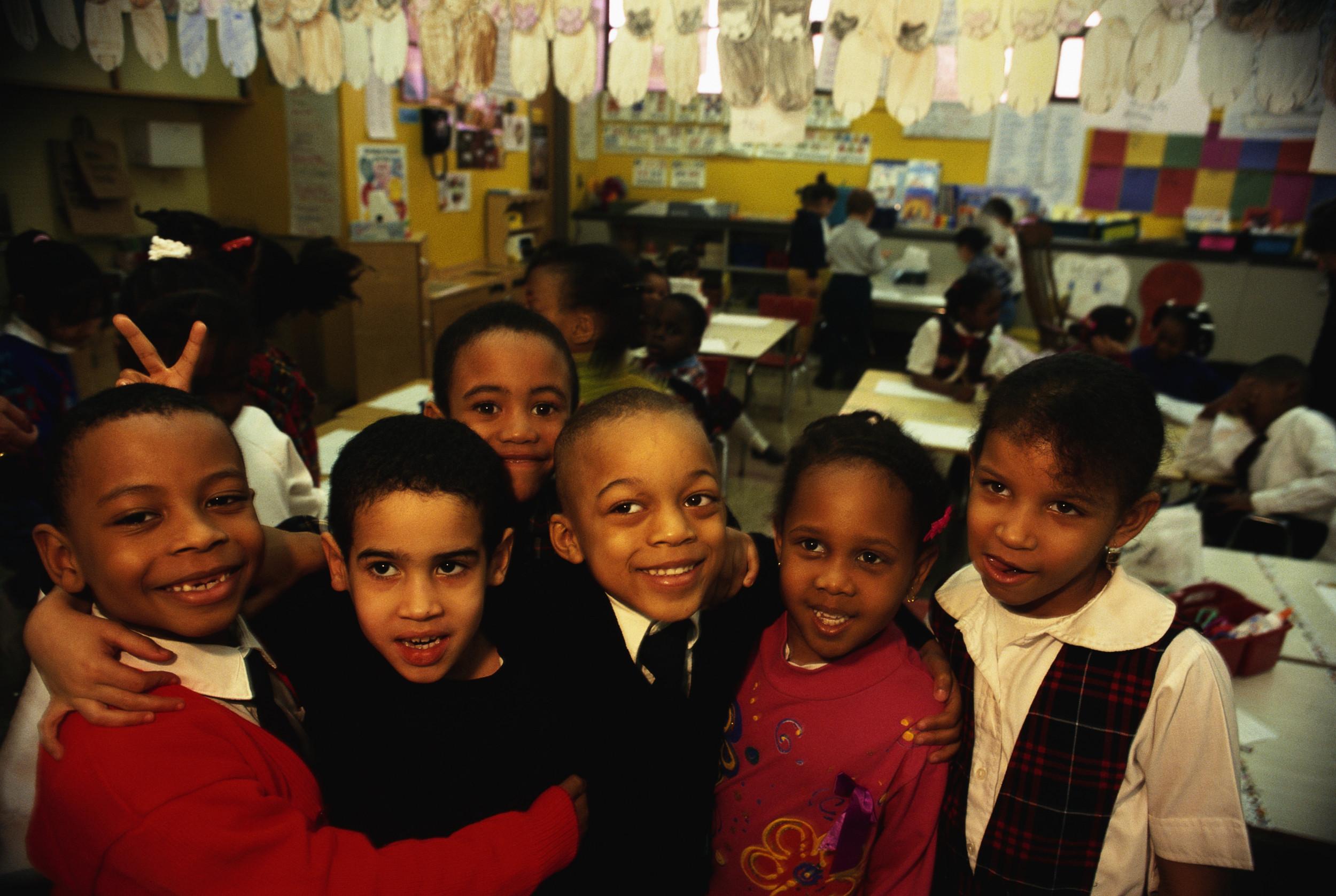 Black children in classroom