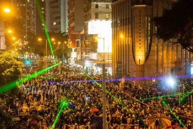 Hong Kong, protesters, police, tactics, lasers