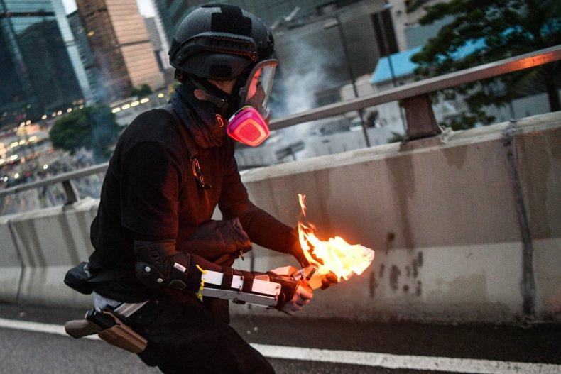 Hong kong, protester, Molotov cocktail, police
