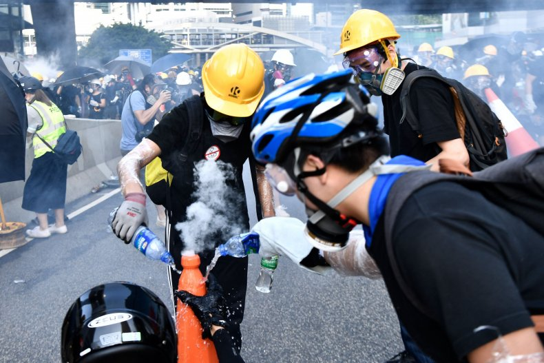 Hong Kong, protesters, tear gas, police