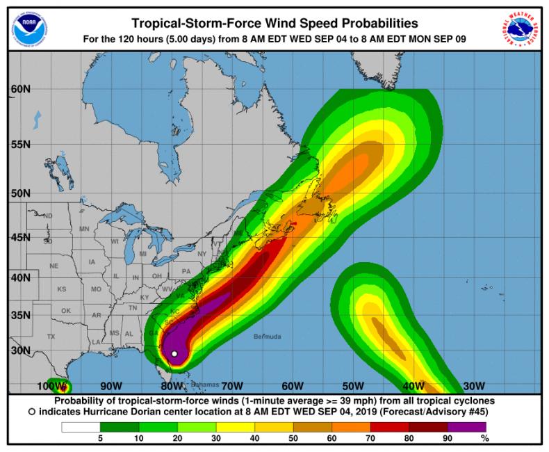 hurricane dorian path update florida georgia carolinas