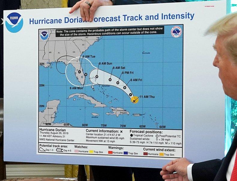 Donald Trump Hurricane Dorian forecast map Alabama