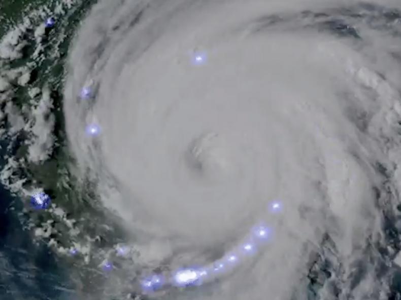 Hurricane Dorian, lightning